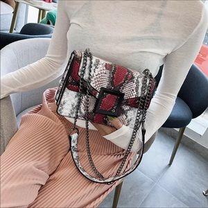 Beautiful Red & Gray Snake Print Shoulder Bag